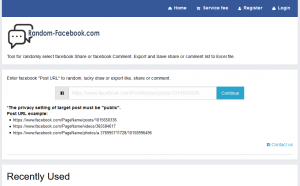 Random-facebook.com Tool for randomly select facebook Share or facebook Comment. Export and Save share or comment list to Excel file.